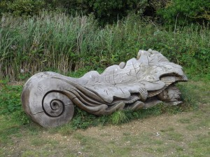Wooden Sculpture on the Witham Way nr Antons Gowt, Lincs